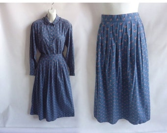 Vintage 80s Suit Dress Size M Blue Cotton Shirt Skirt Ditsy Floral Prairie