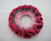 BUY 1 FREE 1 - Crochet Scrunchies - Pink, Grey and Magenta (SC6)