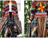 Southwestern Indian Blanket Shetland Wool Sweater Coat// Altered Clothing// Reconstructed// Multi Colored// Aztec// emmevielle