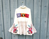 Embroidered Granny Square Crochet Flounce Babydoll Sweater Tunic Top// XL 1X//Reconstructed// Upcycled// Fall Autumn Winter// emmevielle
