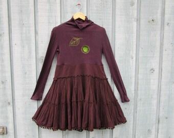 Medium Aubergine Embroidered Boho Upcycled Dress// emmevielle