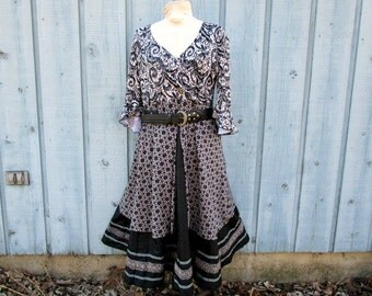Lg. Upcycled Ethnic Layered Bohemian Print Dress// Reconstructed// Black White// emmevielle