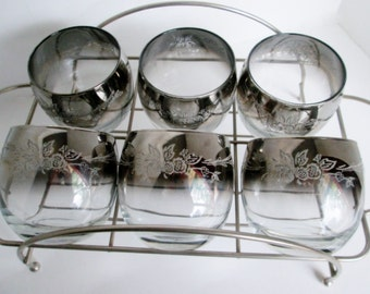 Queens Lustreware Glasses, Chrome Caddy, Vintage High Ball Decorated Glasses Set of 6 Mid Century Ombre Fadded Smoke Rimmed Barware Whisky