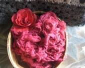 Hand Dyed Silk Noil, Camilia Red Silk Noil, Half Ounce Silk Noil, Spin Blend Needle Felt, Blending Silk, Spinning Fiber, Variegated Red