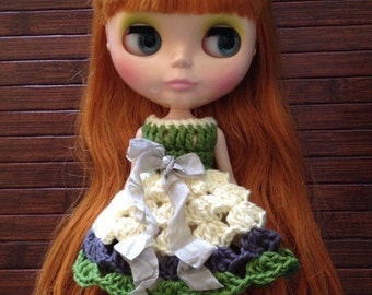 Neo Blythe Princess Crochet Dress - Cream