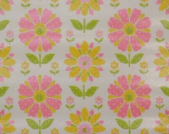 1970s Vintage Wallpaper Retro Mod Pink and Yellow Flowers on White by the Yard