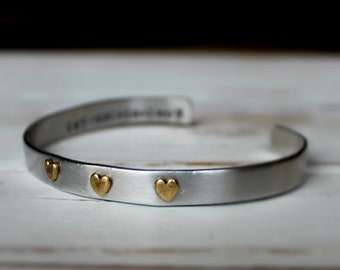 FREE SHIPPING. Personalized Custom Family Heart Hand stamped Cuff Bracelet. Mixed Metal. Riveted. Children names. Mother Bracelet