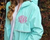 Monogrammed Aqua Rain Jacket, Charles River, Personalized Gifts for Her, New England Rain Coat, Ladies Personalized Rain Coat