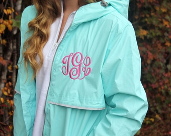 SALE Monogrammed Aqua Rain Jacket, Charles River, Personalized Gifts for Her, New England Rain Coat, Ladies Personalized Rain Coat