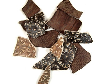One Dozen Stoneware Pottery Shards, Tumbled Smooth and Reversible, Great for Wire Wrap, Beading and Bezel Setting