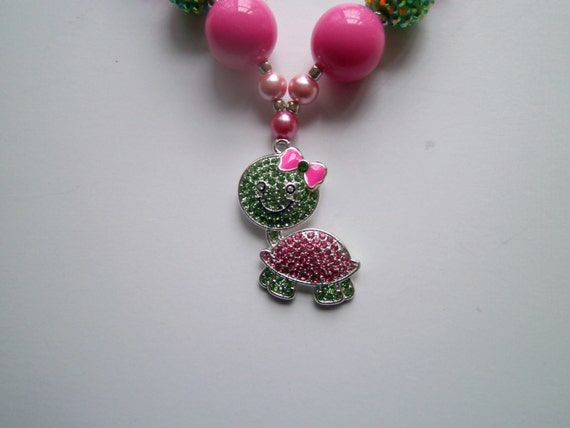 Girls Bubblegum Necklace, Sweet Turtle, Handcrafted,Rhinestone Pendant, Chunky Necklace, Beads, Shiny Bright Necklace, Toddler Necklace