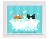 108D Cat Print - Two Cats in Bubble Bath Wall Art - Cat Wall Art - Cat Home Decor - Cat Prints - Bathroom Art - Bath Print - Art for Kids