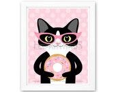 206D Cat Art Print - Black and White Cat Eating Pink Frosted Donut Wall Art - Rainbow Sprinkles Donut Print - Cat Wall Art - Pink Theme Art