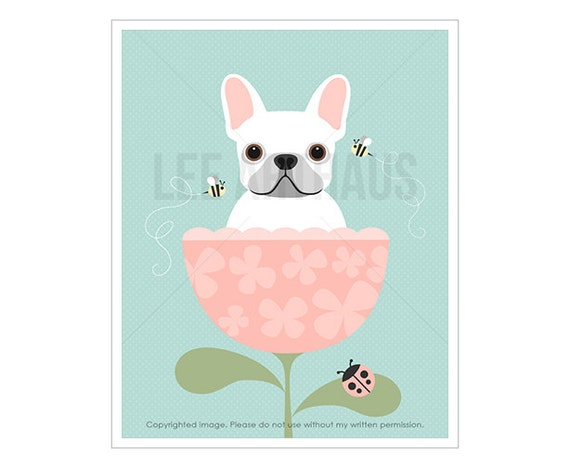 30F Dog Art Prints - White French Bulldog in Pink Flower Cup Wall Art - Pink Flower Print - French Bulldog Print - Pink Girl Nursery Decor