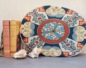 vintage needlepoint pillow - handmade oval cushion
