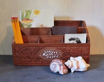 vintage desk caddy - carved teak wood office organizer