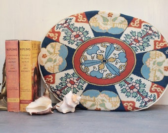 vintage needlepoint pillow - handmade oval cushion