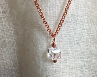 Crystal Cube Pendant on a Pure Copper Double Cable Chain 24 Inches in Length