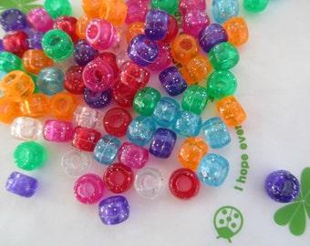 New item Colorful Transparent Glitter rondelle beads 40pcs 8mm x 6mm Mix