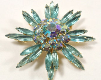Vintage Judy Lee Brooch Turquoise Navettes Aurora Borealis Center Dome