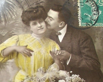 1900s French postcard, Edwardian couple, RPPC paper ephemera.