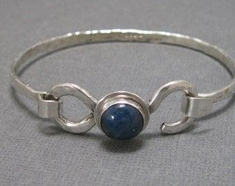 Sterling Silver Hammered Latch Bangle Bracelet with Denim Lapis Cabochon, Artisan Handmade Sterling Silver Bracelet with Natural Gemstone