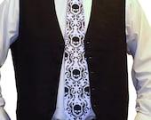 Damask necktie - silkscreen mens skull tie