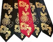2 Clock Works neckties, 1 mens - 1 boys - custom colors print to order