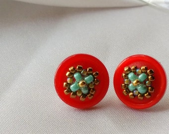 Stud earrings made with Vintage Red buttons, Turquoise, green, bronze seed beads, sterling silver stud