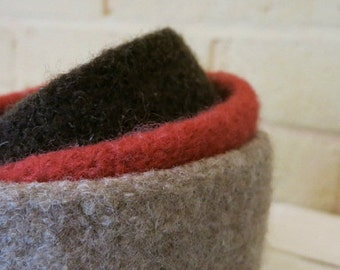 Felted Bowls - Nesting Bowl Set - Hand Knit Wool Bowls -  Knit Felted Vessels