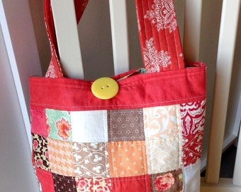 Quilted, lined large tote bag - Fig Tree Fabrics