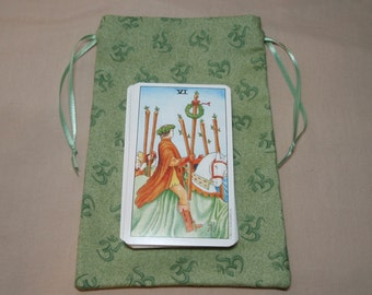 Sage Green Ohms - Cotton Drawstring Pouches - Set of 3 Different Sizes