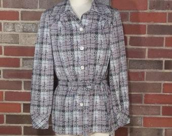 VTG Purple Plaid Stockton Jacket // 1970's // Tie Belt // Blazer Jacket