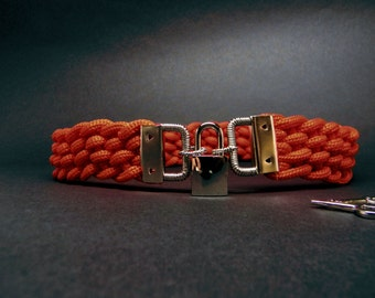 Slave Collar for Shibari Lovers Red Braided Rope Collar with Steel Accents and Polished Nickel Padlock