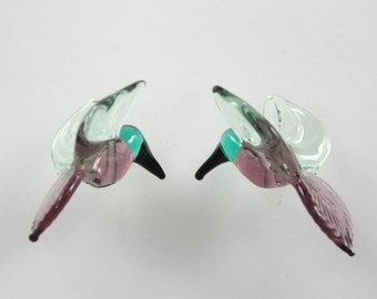 RC Art Glass Lampwork Glass purple and pale emerald green Hummingbird Beads