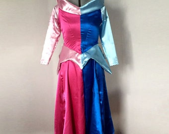 Sleeping Beauty Aurora Dress Costume Half Pink Half Blue Indecisive Princess