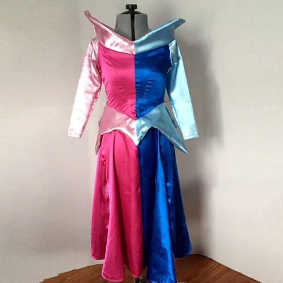 Sleeping Beauty Aurora Dress Costume Half Pink Half Blue Indecisive Princess