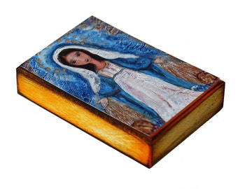 Virgen Milagrosa -  Giclee print mounted on Wood (6 x 8 inches) Folk Art  by FLOR LARIOS