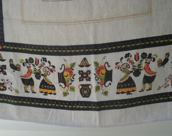 Thick linen tablecloth - folky design