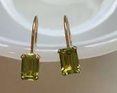 10K Gold Peridot Emerald-Cut Huggie Hoops Earrings August Birthstone