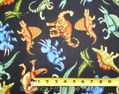 Jurassic Jungle Dinosaurs T-rex Animals on Black BY YARDS QT Cotton Fabric