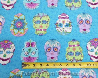 Sugar Skulls Floral Day of Dragonfly on Blue Vines BY YARDS Blank Cotton Fabric
