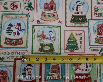 Snowmen Christmas Globes Gingerbread Houses BY YARDS Benartex Cotton Fabric