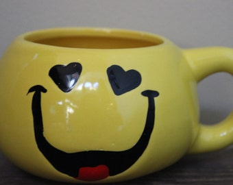 Vintage Smiley Face Coffee Cup Yellow Ceramic Coffee Mug Tea Cup 1970's Groovy Heart Eyes Emoticon Valentines Day Gift For Him Or Her