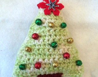 Crocheted Christmas Tree Ornament, Holiday Ornament