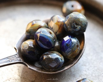 COBALT AND CREAM .. 10 Picasso Czech Blue Glass Beads 6x9mm (B133-10)