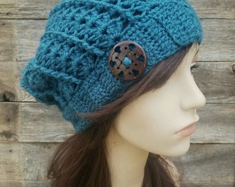 Women's Slouchy Beanie with Button, Slouchy Hat, Teal Blue Hat, Slouchy Hat with Buttons, Fall Hat, Boho Hat - MADE TO ORDER