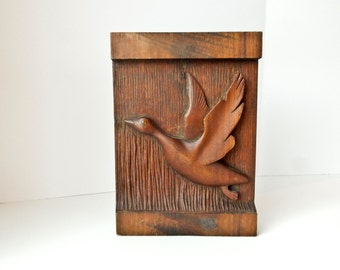Hand Carved Wood Duck Wall Hanging, Duck in Flight Wall Sculpture