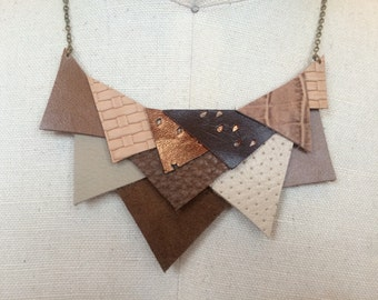 Brown leather triangles mosaic statement bib necklace