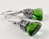 Xilion Crystal Earrings, Green  Crystal Earrings, Faceted Crystals, Holiday Jewelry Gifts for Her